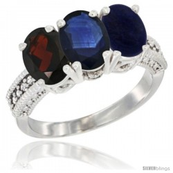 14K White Gold Natural Garnet, Blue Sapphire & Lapis Ring 3-Stone 7x5 mm Oval Diamond Accent