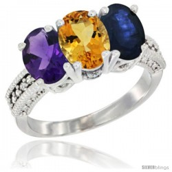 14K White Gold Natural Amethyst, Citrine & Blue Sapphire Ring 3-Stone 7x5 mm Oval Diamond Accent