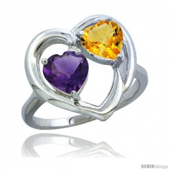 14k White Gold 2-Stone Heart Ring 6mm Natural Amethyst & Citrine Diamond Accent