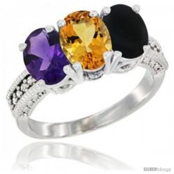 14K White Gold Natural Amethyst, Citrine & Black Onyx Ring 3-Stone 7x5 mm Oval Diamond Accent