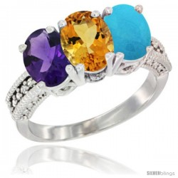 14K White Gold Natural Amethyst, Citrine & Turquoise Ring 3-Stone 7x5 mm Oval Diamond Accent