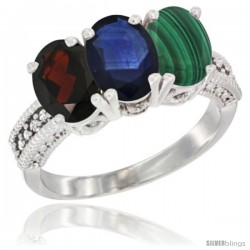 14K White Gold Natural Garnet, Blue Sapphire & Malachite Ring 3-Stone 7x5 mm Oval Diamond Accent