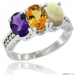 14K White Gold Natural Amethyst, Citrine & Opal Ring 3-Stone 7x5 mm Oval Diamond Accent