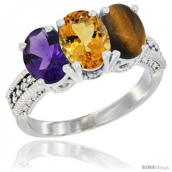 14K White Gold Natural Amethyst, Citrine & Tiger Eye Ring 3-Stone 7x5 mm Oval Diamond Accent