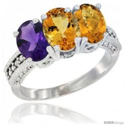 14K White Gold Natural Amethyst, Citrine & Whisky Quartz Ring 3-Stone 7x5 mm Oval Diamond Accent