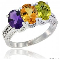 14K White Gold Natural Amethyst, Citrine & Lemon Quartz Ring 3-Stone 7x5 mm Oval Diamond Accent
