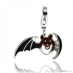 Sterling Silver Bat Charm for Bracelet, 13/16 in. (21 mm) wide, Black Enamel Finish