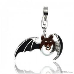 Sterling Silver Bat Charm for Bracelet, 13/16 in. (21 mm) wide, Black Enamel Finish