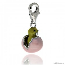 Sterling Silver Hatching Egg Chick Charm for Bracelet, 5/8 in. (16 mm) tall, Enamel Finish