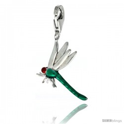 Sterling Silver Dragonfly Charm for Bracelet, 13/16 in. (21 mm) tall, Enamel Finish Insect