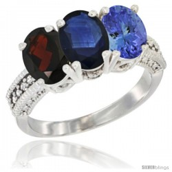 14K White Gold Natural Garnet, Blue Sapphire & Tanzanite Ring 3-Stone 7x5 mm Oval Diamond Accent