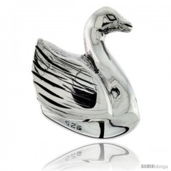 Sterling Silver Swan Bead Charm for most Charm Bracelets