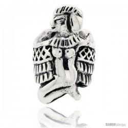 Sterling Silver Nekhbet Charm Egyptian Goddess Bead Charm for most Charm Bracelets