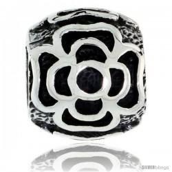 Sterling Silver Floral Barrel Bead Charm for most Charm Bracelets