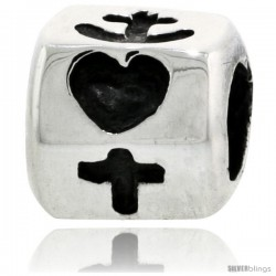 Sterling Silver Hexagon Bead Charm for most Charm Bracelets, w/ Heart, Cross & Anchor Design