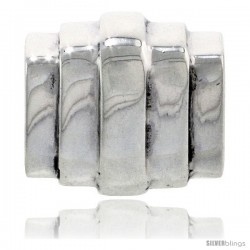 Sterling Silver Striped Barrel Bead Charm for most Charm Bracelets
