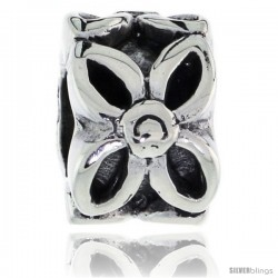 Sterling Silver Floral Bead Charm for most Charm Bracelets -Style Pdr119