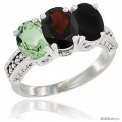 14K White Gold Natural Green Amethyst, Garnet & Black Onyx Ring 3-Stone 7x5 mm Oval Diamond Accent