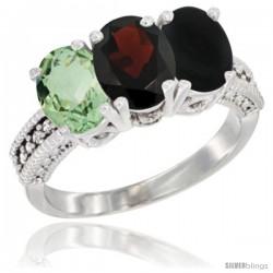 14K White Gold Natural Green Amethyst, Garnet & Black Onyx Ring 3-Stone 7x5 mm Oval Diamond Accent