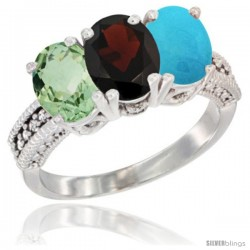 14K White Gold Natural Green Amethyst, Garnet & Turquoise Ring 3-Stone 7x5 mm Oval Diamond Accent