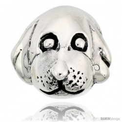 Sterling Silver Dog Face Bead Charm for most Charm Bracelets