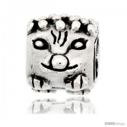 Sterling Silver Cat Face Bead Charm for most Charm Bracelets -Style Pdr130