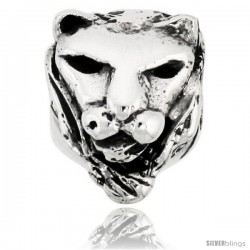 Sterling Silver Lion Face Bead Charm for most Charm Bracelets