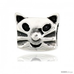 Sterling Silver Happy Cat Face Bead Charm for most Charm Bracelets -Style Pdr133