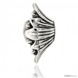 Sterling Silver Fan-shaped Bead Charm for most Charm Bracelets