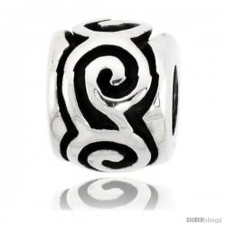 Sterling Silver Swirl Barrel Bead Charm for most Charm Bracelets