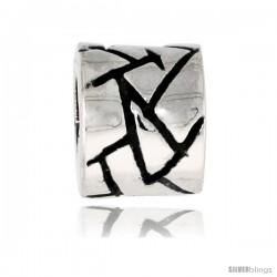 Sterling Silver Barrel Bead Charm for most Charm Bracelets