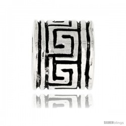 Sterling Silver Greek Key Barrel Bead Charm for most Charm Bracelets