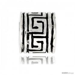 Sterling Silver Greek Key Barrel Bead Charm for most Charm Bracelets