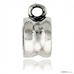 Sterling Silver Concave Bead Charm for most Charm Bracelets