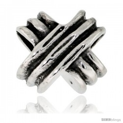 "Sterling Silver Hug ""X"" Bead Charm for most Charm Bracelets"