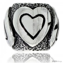 Sterling Silver Heart Barrel Bead Charm for most Charm Bracelets
