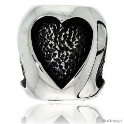 Sterling Silver Heart Barrel Bead Charm for most Charm Bracelets -Style Pdr150