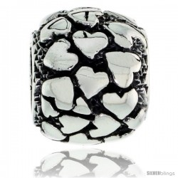 Sterling Silver Multi Heart Barrel Bead Charm for most Charm Bracelets -Style Pdr151