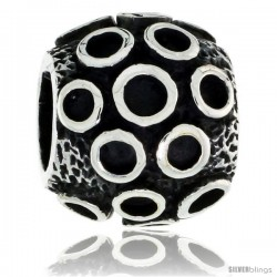 Sterling Silver Bubble Barrel Bead Charm for most Charm Bracelets -Style Pdr152