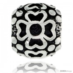 Sterling Silver Floral Barrel Bead Charm for most Charm Bracelets -Style Pdr153