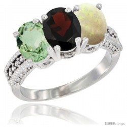 14K White Gold Natural Green Amethyst, Garnet & Opal Ring 3-Stone 7x5 mm Oval Diamond Accent