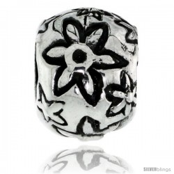 Sterling Silver Floral Barrel Bead Charm for most Charm Bracelets -Style Pdr157