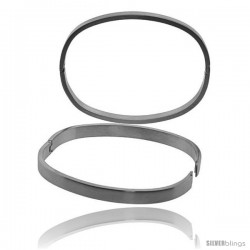 Stainless Steel Oval Bangle Bracelet For men, 8 in