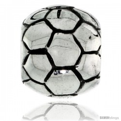 Sterling Silver Soccer Ball Bead Charm for most Charm Bracelets -Style Pdr158