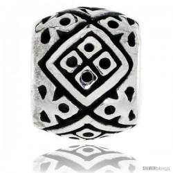 Sterling Silver Diamond Shape Pattern Barrel Bead Charm for most Charm Bracelets