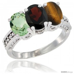 14K White Gold Natural Green Amethyst, Garnet & Tiger Eye Ring 3-Stone 7x5 mm Oval Diamond Accent