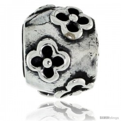 Sterling Silver Clover Flower Barrel Bead Charm for most Charm Bracelets