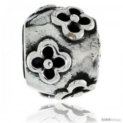 Sterling Silver Clover Flower Barrel Bead Charm for most Charm Bracelets