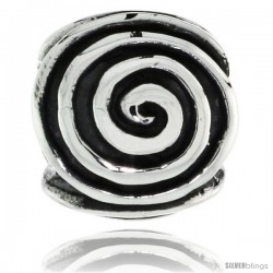 Sterling Silver Whirl Barrel Bead Charm for most Charm Bracelets -Style Pdr165