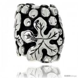 Sterling Silver Five-finger Leaf Barrel Bead Charm for most Charm Bracelets